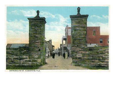St. Augustine, Florida - View of the City Gates-Lantern Press-Art Print