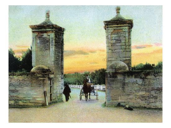 St. Augustine, Florida - View of the Old City Gate-Lantern Press-Art Print