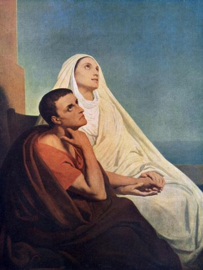 St Augustine with His Mother St Monica, 1855-Ary Scheffer-Giclee Print