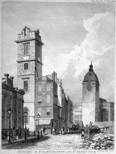 St Bartholomew-By-The-Exchange and St Benet Fink, City of London, 1840-George Hollis-Giclee Print