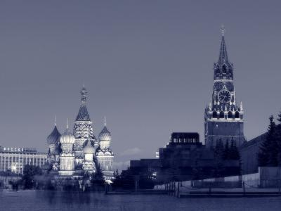 St. Basil's Cathedral and Kremlim, Red Square, Moscow, Russia-Jon Arnold-Photographic Print