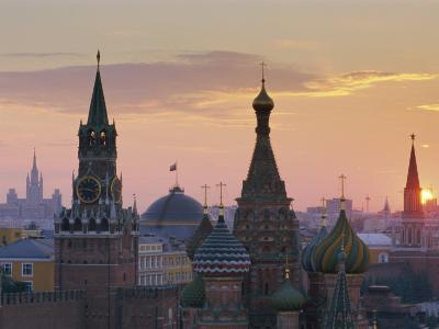 St. Basil's Cathedral and Kremlin, Moscow, Russia-Charles Bowman-Photographic Print