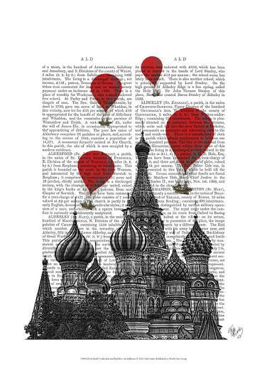 St Basil's Cathedral and Red Hot Air Balloons-Fab Funky-Art Print