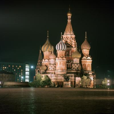 St Basils Cathedral at Night-CM Dixon-Photographic Print
