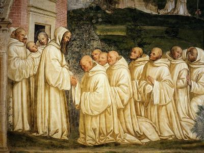 St Benedict of Nursia (480-550) Prays with his Monks, Fresco-Giovanni Antonio Bazzi Sodoma-Giclee Print