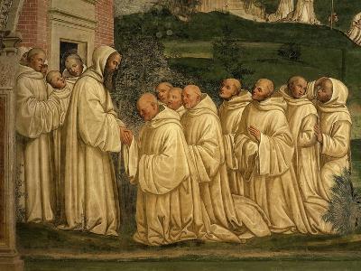 St Benedict of Nursia Prays with his Monks, Fresco-Giovanni Antonio Bazzi Sodoma-Giclee Print