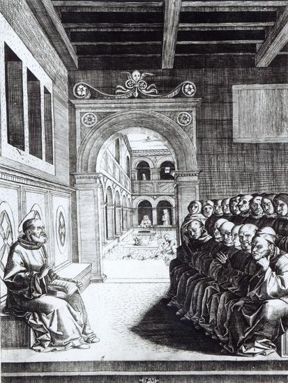 St. Benedict Preaching in the Monastery--Giclee Print
