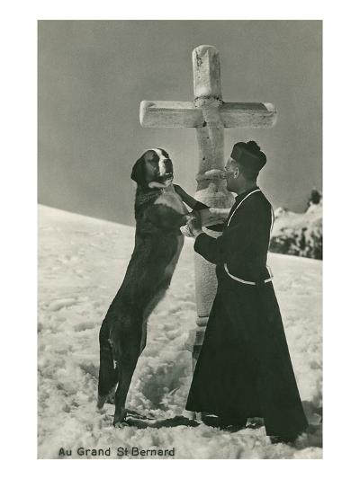 St. Bernard Dog Wtih Priest at Cross--Art Print