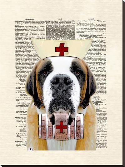 St Bernard Nurse-Matt Dinniman-Stretched Canvas Print