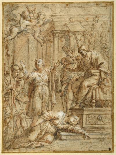 St. Bibiana Lies Martyred before the Prefect Apronianus-Pietro Da Cortona-Giclee Print