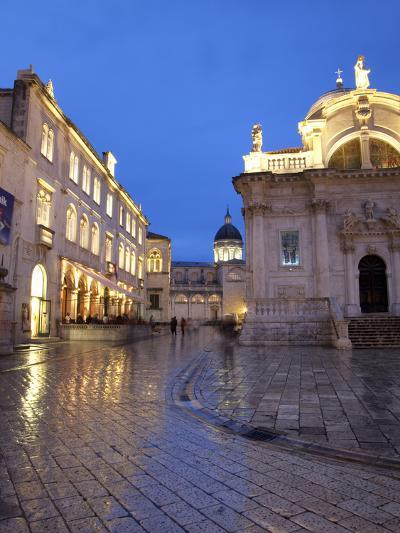 St. Blaise Church and Cathedral at Night, Old Town, UNESCO World Heritage Site, Dubrovnik, Croatia,-Martin Child-Photographic Print