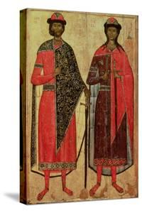 St. Boris and St. Gleb, Russian Icon, Moscow School, 14th Century