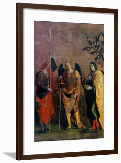 St. Bovo, Archangel Michael, St. Cosmas and St. Damian-Caroto Gian Francesco-Framed Art Print