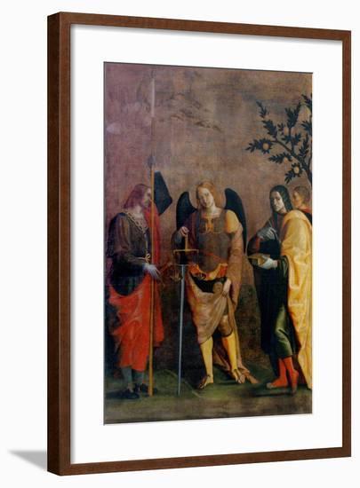 St. Bovo, Archangel Michael, St. Cosmas and St. Damian-Caroto Gian Francesco-Framed Art Print