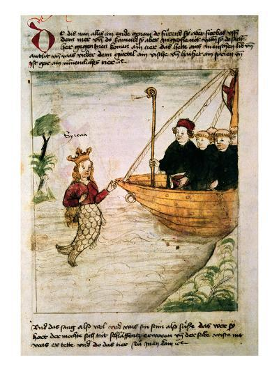 St. Brendan and a Siren, from the German Translation of 'Navigatio Sancti Brendani Abbatis', C.1476-German-Giclee Print