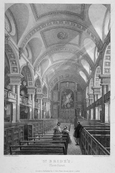 St Bride's Church, Fleet Street, City of London, 1839-T Turnbull-Giclee Print