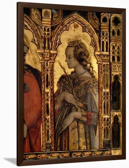St. Catherine of Alexandria, Detail from the San Martino Polyptych-Carlo Crivelli-Framed Premium Giclee Print