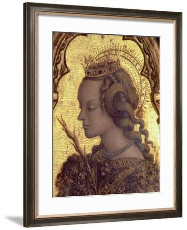 St. Catherine of Alexandria, Detail from the San Martino Polyptych-Carlo Crivelli-Framed Giclee Print