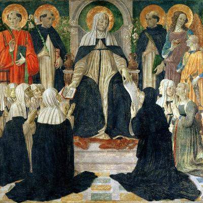 St. Catherine of Siena as the Spiritual Mother of the 2nd and 3rd Orders of St. Dominic-Cosimo Rosselli-Giclee Print