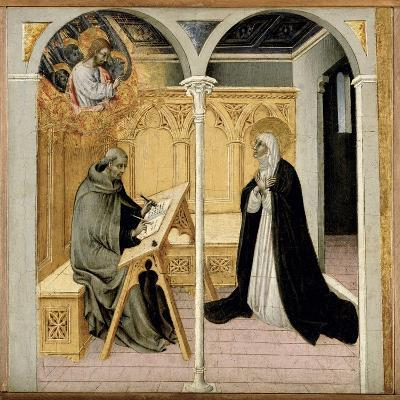 St. Catherine of Siena Dictating Her Dialogues, C.1447-61 (Tempera on Panel)-Giovanni di Paolo di Grazia-Giclee Print