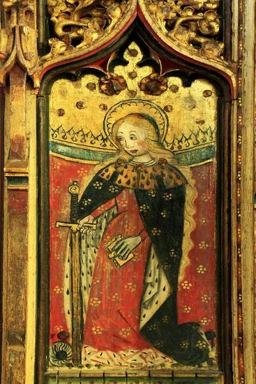 St. Catherine, Rood Screen Painting, Church of St Peter and St Paul, Eye, Suffolk, C.1480--Giclee Print