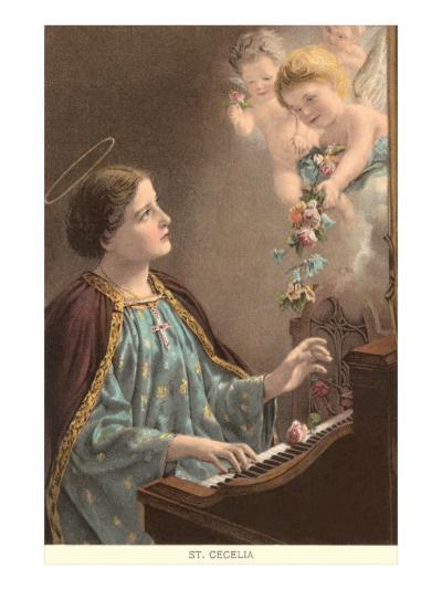 St. Cecelia at Piano with Putti--Art Print