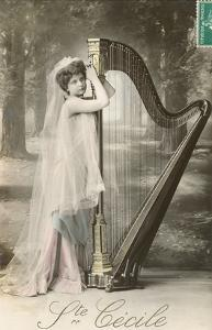St. Cecile Posing with Harp
