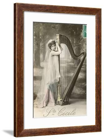 St. Cecile Posing with Harp--Framed Art Print