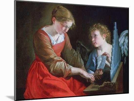 St Cecilia and an Angel, C1617-1618 and C1621-1627-Orazio Gentileschi-Mounted Giclee Print