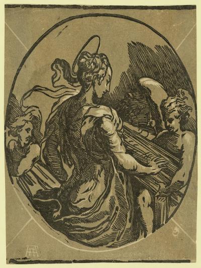 St. Cecilia. Chiaroscuro Woodcut--Giclee Print