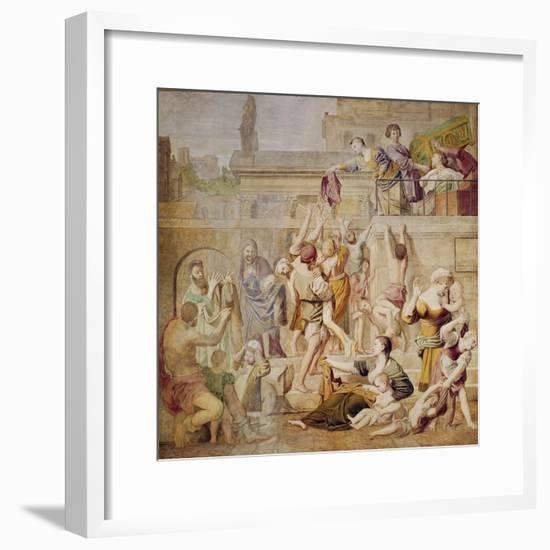 St. Cecilia Distributing Alms, C.1612-15-Domenichino-Framed Giclee Print