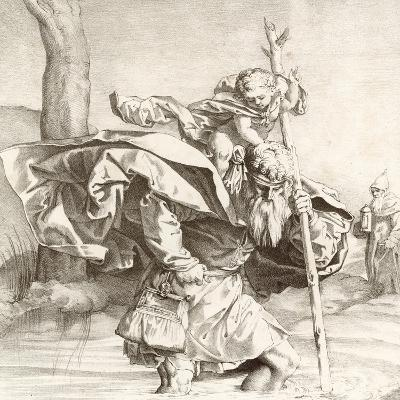 St Christopher Carrying the Christ Child-Lucas van Leyden-Giclee Print