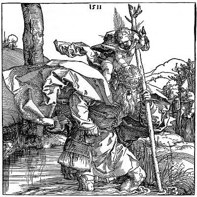 St Christopher Carrying the Infant Christ, 1511-Albrecht Durer-Giclee Print
