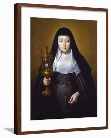 St Claire Holding a Monstrance with the Eucharist-Frans Luyckx Or Leux-Framed Giclee Print