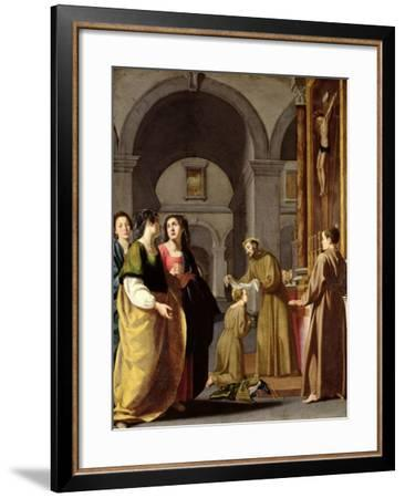 St. Clare Receiving the Veil from St. Francis of Assisi--Framed Giclee Print