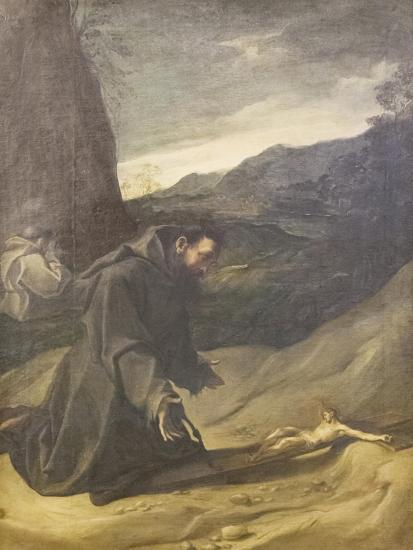 St Francis Adoring the Crucifix, C.1583-84-Lodovico Carracci-Giclee Print