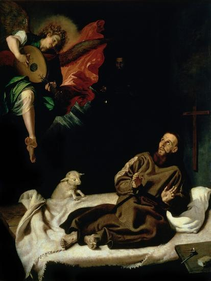 St. Francis Comforted by an Angel Musician-Francisco Ribalta-Giclee Print