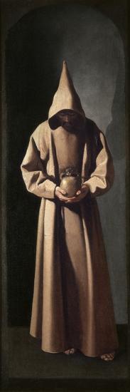 St. Francis Contemplating a Skull, C.1635-Francisco de Zurbaran-Giclee Print