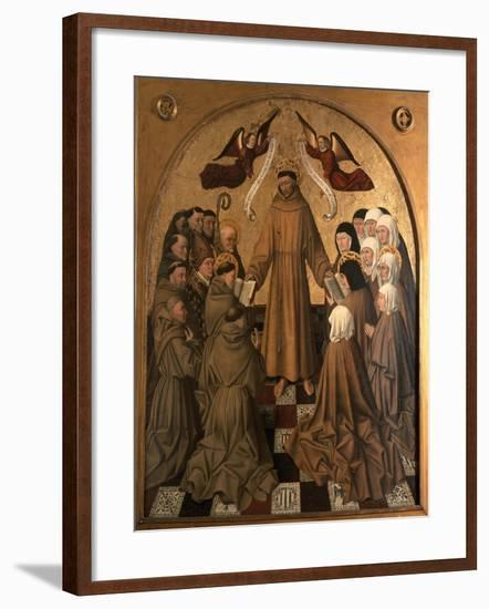 St. Francis Giving the Rule to His Disciples, Panel from the Pala Di Rocca-Niccolo Antonio Colantonio-Framed Giclee Print