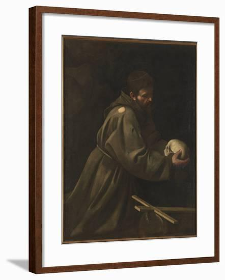St Francis in Meditation-Caravaggio-Framed Giclee Print