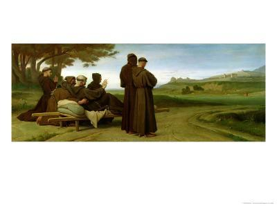 St. Francis of Assisi, While Being Carried to Saint-Marie-Des-Anges, Blesses Assisi in 1226, 1853-Francois Leon Benouville-Giclee Print