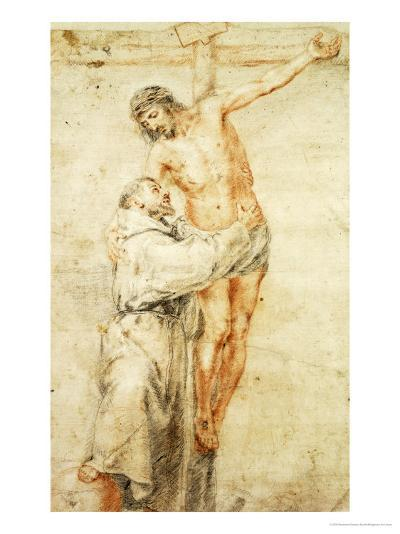 St. Francis Rejecting the World and Embracing Christ-Bartolome Esteban Murillo-Giclee Print