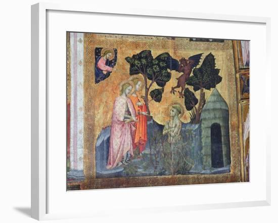 St Francis Throws Himself into the Thorny Brambles, Fresco from the Porziuncola, 1393-Ilario da Viterbo-Framed Giclee Print