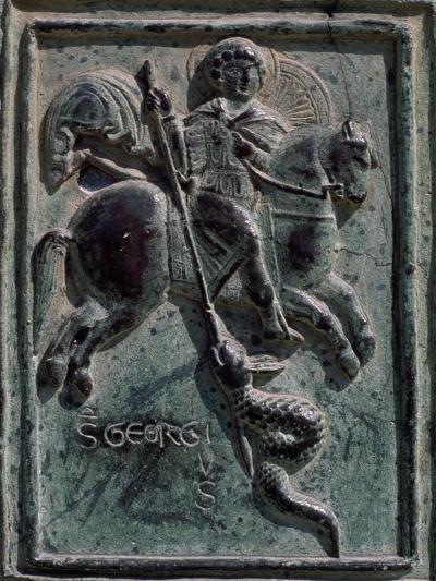St. George and Dragon, Tile Carved in Bronze, Detail from Central Entrance, Cira 1185-Barisano Da Trani-Giclee Print