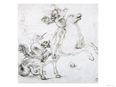 St. George and the Dragon, Drawing, Gabinetto Dei Disegni E Delle Stampe, Uffizi Gallery-Raphael-Giclee Print