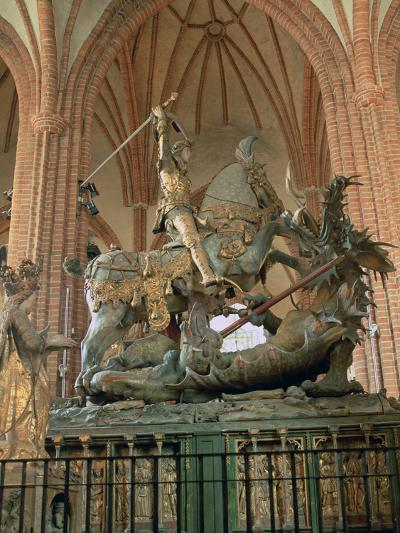 St George and the Dragon Statue, Inside the Storkyrkan Church, Stockholm, Sweden-Peter Thompson-Photographic Print