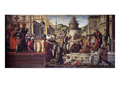 St. George Baptizes King Aio and Queen Silene-Vittore Carpaccio-Giclee Print