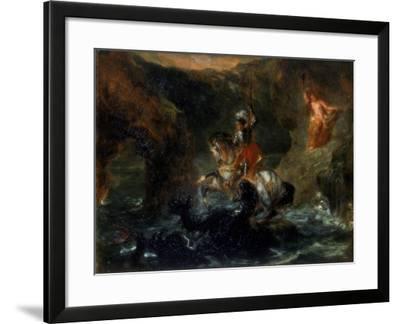 St George Fighting the Dragon or Perseus Delivering Andromeda, 1847-Eugene Delacroix-Framed Giclee Print