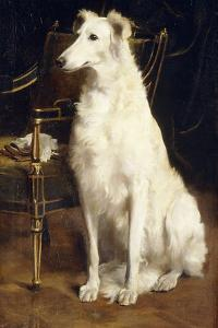 A Borzoi by a Chair by St. George Hare