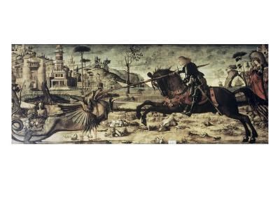St. George Killing the Dragon-Vittore Carpaccio-Giclee Print